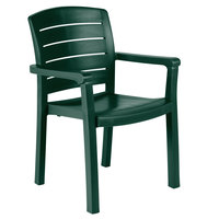 Grosfillex 46119078 / US119078 Acadia Amazon Green Classic Stacking Resin Armchair