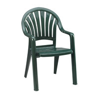 Grosfillex 49092078 / US092078 Pacific Amazon Green Fanback Stacking Resin Armchair