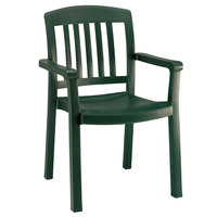 Grosfillex 49442078 / US442078 Atlantic Amazon Green Classic Stacking Resin Armchair