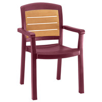 Grosfillex 49453067 / US453067 Aquaba Bordeaux Classic Stacking Resin Armchair
