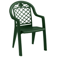 Grosfillex US103185 / US413185 Savannah Metal Green Highback Stacking Resin Armchair