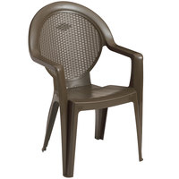 Grosfillex US421037 / 99421037 Trinidad Bronze Mist Stacking Resin Armchair