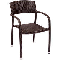 BFM Seating PH511CJV Regis Java Stackable Outdoor / Indoor Synthetic Wicker Arm Chair