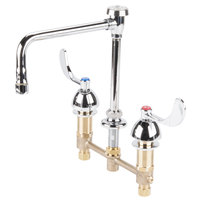 T&S B-2863 Deck Mount Easy Install 2.2 GPM Faucet with 8 inch Centers, 8 3/4 inch Gooseneck, 4 inch Wrist Action Handles, Eterna Cartridges, and Vacuum Breaker