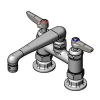 T&S B-2501-CR Deck Mount Mixing Faucet with 4 inch Adjustable Centers, 6 inch Cast Spout, and Cerama Cartridges