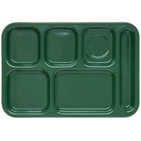 Carlisle 4398808 Forest Green 10 inch x 14 inch Heavy Weight Melamine Right Hand 6 Compartment Tray