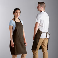 Choice Brown Full Length Bib Apron with Adjustable Neck with Pockets - 32 inchL x 30 inchW