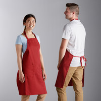 Choice Red Full Length Bib Apron with Adjustable Neck with Pockets - 32 inchL x 30 inchW