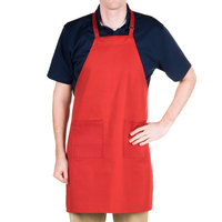 Choice Red Full Length Bib Apron with Adjustable Neck with Pockets - 32 inchL x 28 inchW