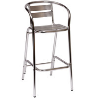 BFM Seating MS0063 Parma Outdoor / Indoor Bar Height Aluminum Arm Chair