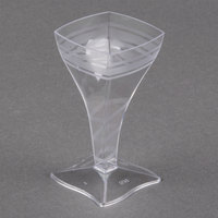 Fineline Tiny Temptations 6410-CL 2 oz. Tiny Barware Clear Plastic Square Wine Glass - 8/Pack