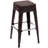 BFM Seating PH507BJV Monterey Outdoor / Indoor Java Synthetic Wicker Barstool