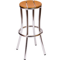 BFM Seating MS607STAL Norden Outdoor / Indoor Stackable Aluminum and Synthetic Teak Barstool