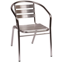 BFM Seating MS0021 Parma Outdoor / Indoor Stackable Aluminum Arm Chair