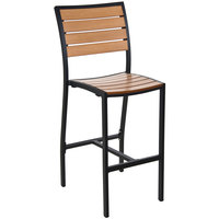 BFM Seating PH102BTKBL Largo Outdoor / Indoor Synthetic Teak Black Bar Height Side Chair