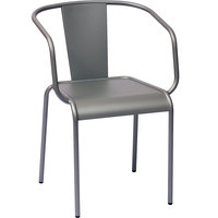 BFM Seating DV680TS Tara X Stackable Outdoor / Indoor Steel Arm Chair