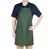 "Choice Hunter Green Full Length Bib Apron with Adjustable Neck with Pockets - 32""L x 28""W"