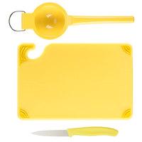 Saf-T-Grip® 9 inch x 6 inch x 3/8 inch Yellow Bar Size Cutting Board and Lemon Prep Set