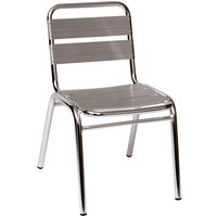 BFM Seating MS0025 Parma Outdoor / Indoor Stackable Aluminum Side Chair