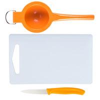 9 inch x 6 inch x 3/8 inch White Bar Size Cutting Board and Orange Prep Set