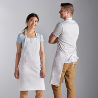 Choice White Full Length Bib Apron with Adjustable Neck with Pockets- 32 inchL x 30 inchW