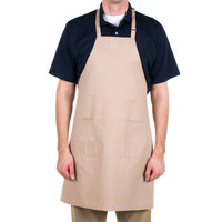 Choice Khaki / Beige Full Length Bib Apron with Adjustable Neck with Pockets - 32 inchL x 30 inchW