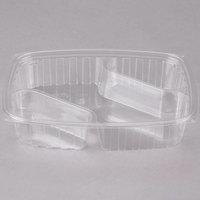 Dart Solo C30DX3R ClearPac 30 oz. Three Compartment Clear Plastic Container - 252/Case