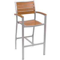 BFM Seating PH101BTKSV Largo Outdoor / Indoor Synthetic Teak Silver Bar Height Arm Chair