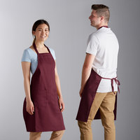 Choice Burgundy Full Length Bib Apron with Adjustable Neck with Pockets - 32 inchL x 30 inchW
