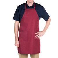 "Choice Burgundy Full Length Bib Apron with Adjustable Neck with Pockets - 32""L x 30""W"