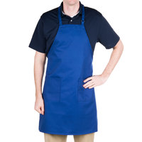 Choice Royal Blue Full Length Bib Apron with Adjustable Neck with Pockets - 32 inchL x 28 inchW