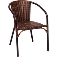 BFM Seating MS11CBBBL Marina Outdoor / Indoor Stackable Brown Synthetic Wicker Arm Chair