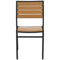 ... BFM Seating PH102CTKBL Largo Outdoor / Indoor Stackable Synthetic Teak  Black Side Chair