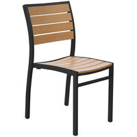 BFM Seating PH102CTKBL Largo Outdoor / Indoor Stackable Synthetic Teak Black Side Chair