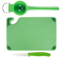 Saf-T-Grip® 9 inch x 6 inch x 3/8 inch Green Bar Size Cutting Board and Lime Prep Set