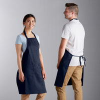 Choice Navy Full Length Bib Apron with Adjustable Neck with Pockets- 32 inchL x 30 inchW