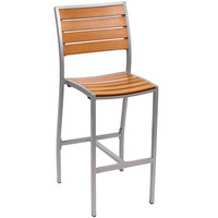 BFM Seating PH102BTKSV Largo Outdoor / Indoor Synthetic Teak Silver Bar Height Side Chair
