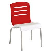 Grosfillex US041414 Domino Indoor Stacking Resin Chair with Red Back and White Seat - 4/Pack
