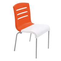 Grosfillex US041019 Domino Indoor Stacking Resin Chair with Orange Back and White Seat - 4/Pack