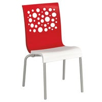 Grosfillex US835414 Tempo Stacking Resin Chair with Red Back and White Seat - 4/Pack