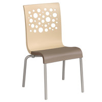 Grosfillex US021413 Tempo Indoor Stacking Resin Chair with Beige Back and Taupe Seat - 4/Pack