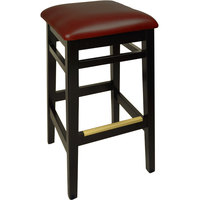 BFM Seating LWB680BLBUV Trevor Black Wood Barstool with 2 inch Burgundy Vinyl Seat