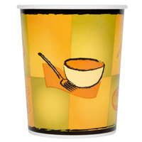 Huhtamaki Chinet 70432 Streetside Print 32 oz. Double-Wall Poly Paper Soup / Hot Food Cup with Plastic Lid - 250/Case