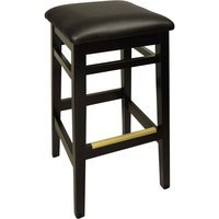 BFM Seating LWB680BLBLV Trevor Black Wood Barstool with 2 inch Black Vinyl Seat