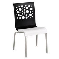 Grosfillex US835017 Tempo Indoor Stacking Resin Chair with Black Back and White Seat - 4/Pack