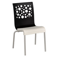 Grosfillex US021017 Tempo Indoor Stacking Resin Chair with Black Back and White Seat - 4/Pack