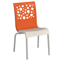 Grosfillex US021019 Tempo Indoor Stacking Resin Chair with Orange Back and White Seat - 4/Pack
