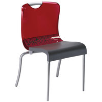 Grosfillex US203207 Krystal Red Resin Indoor Stacking Chair - 4/Pack