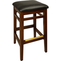 BFM Seating LWB680MHBLV Trevor Mahogany Wood Barstool with 2 inch Black Vinyl Seat