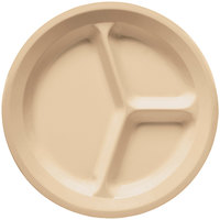 GET CP-532-T Tan 11 inch SuperMel Three Compartment Plate - 12/Case